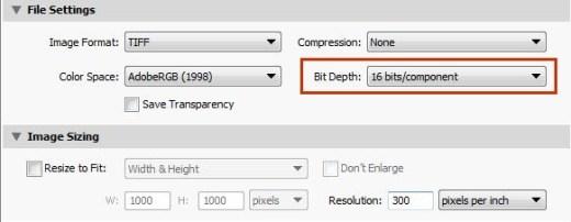 16 Bit Export