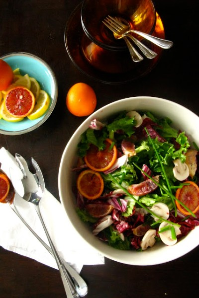 Red Cabbage Leaf Salad with Blood Oranges and Chives