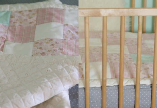 Baby Quilt Detail pink, white, mint www.bestofthislife.com Nursery
