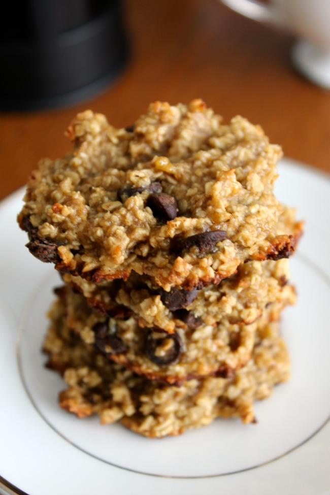 Healthy Oatmeal Banana Chocolate Chip Cookies #glutenfree