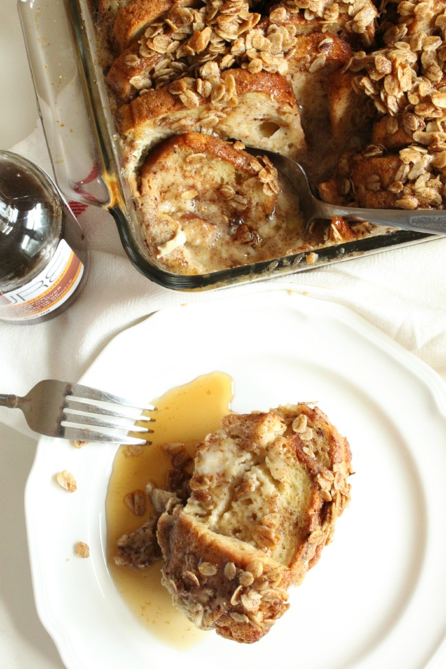 French Toast Casserole made with PURE maple syrup and gluten free bread