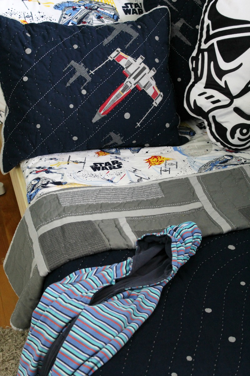 A Star Wars Boys Room Makeover featuring bedding from Pottery Barn Kids