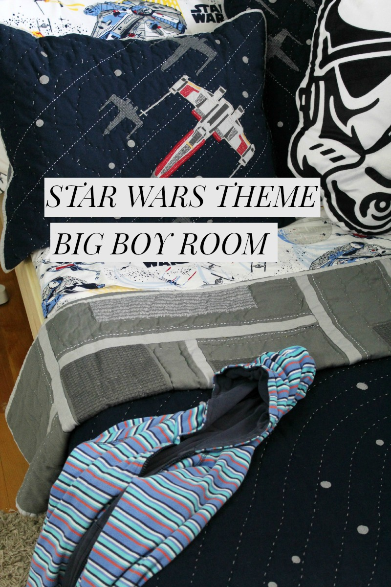 A Star Wars Theme Boys Room Makeover featuring bedding from Pottery Barn Kids