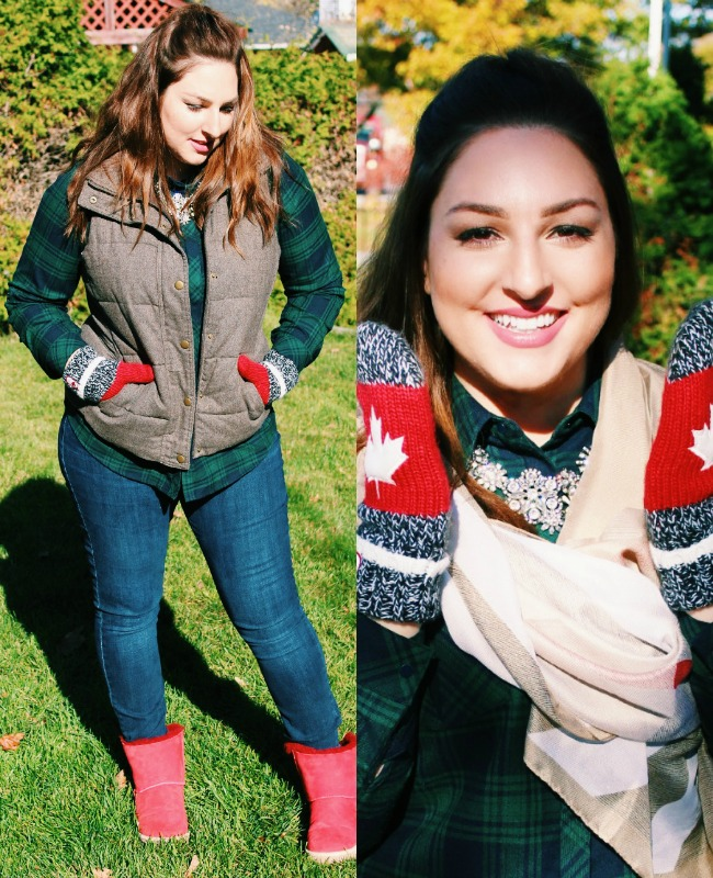 Canadian mittens and vest