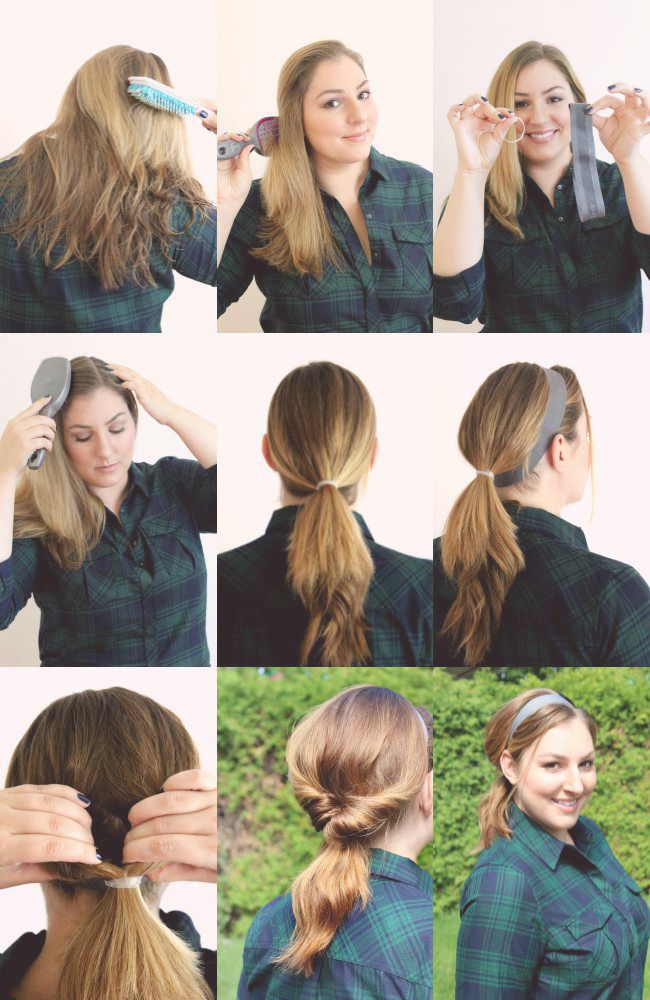 How to create a head band pony tail hairstyle in 5 minutes