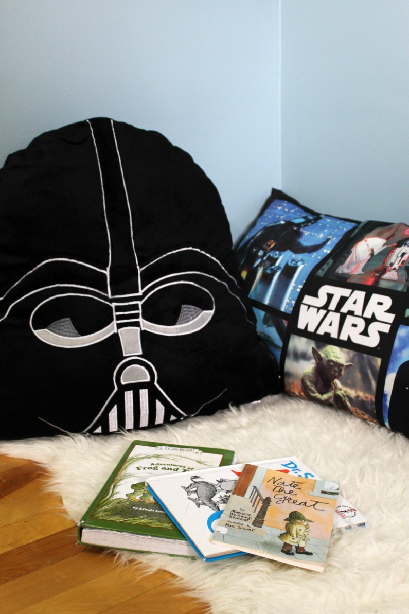 Star Wars Boys Room Makeover featuring reading nook with body pillows from Giant Tiger