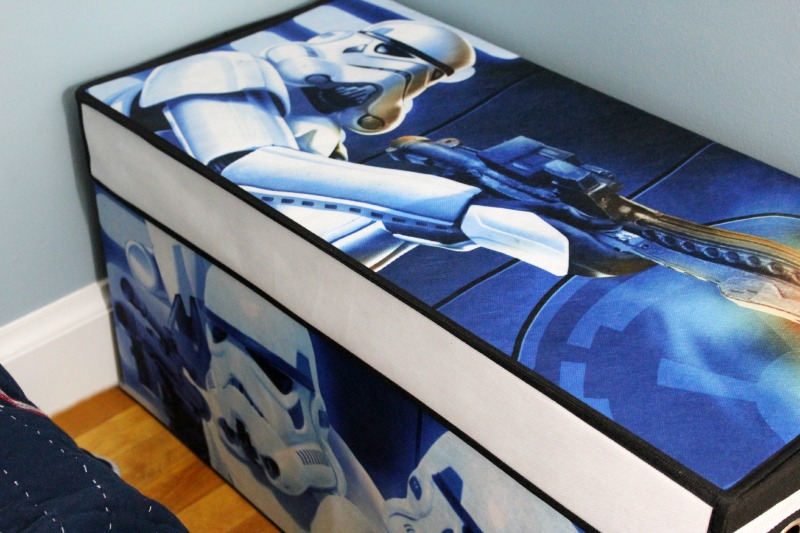 Star Wars Boys Room Makeover featuring storm trooper toy chest