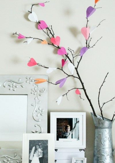 Valentine's Day Paper Heart Tree Craft
