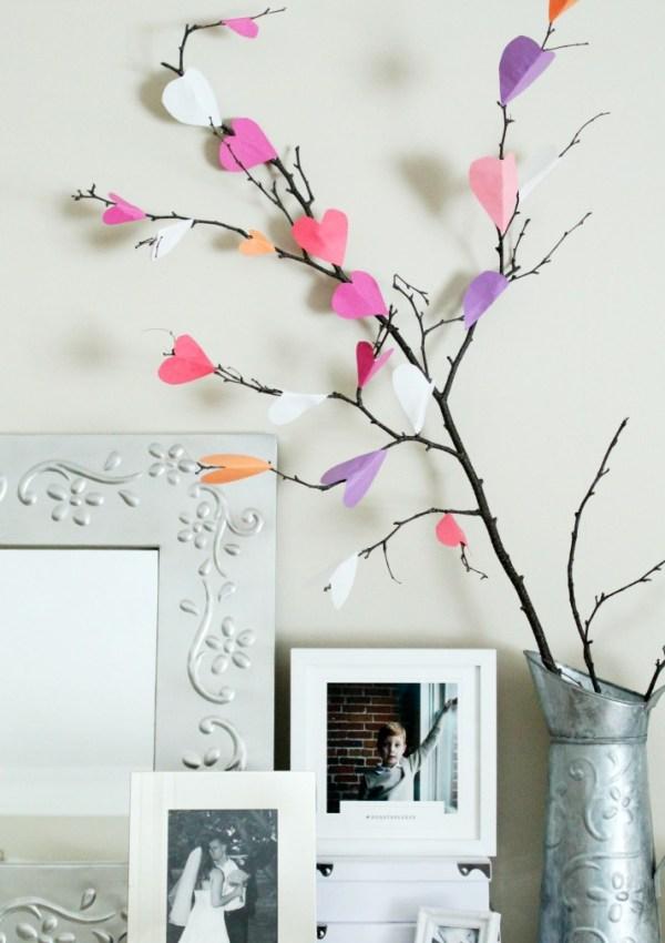 Valentine's Day Paper Heart Tree Craft