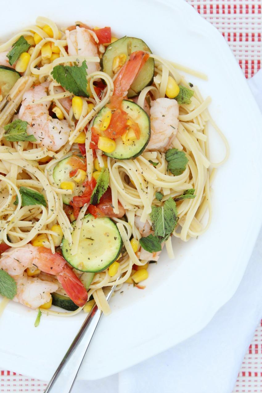 Gluten-Free Linguine with Shrimp and Vegetables