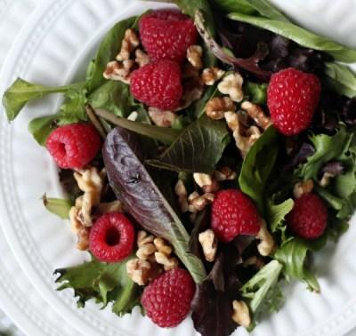 An Easy and Beautiful Raspberry Walnut Winter Salad