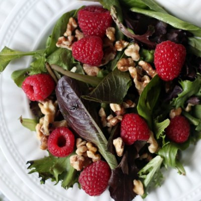 An Easy and Beautiful Raspberry Walnut Winter Salad