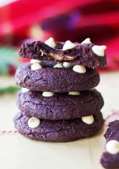 Caramel-Filled Dark Chocolate Cookies