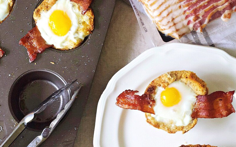 Wholesome Bacon and Egg Bread Baskets Made with Natural Ingredients