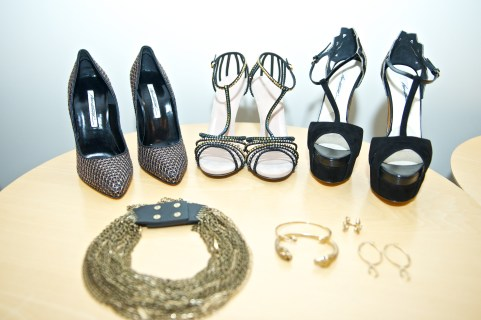 Snake and temptation inspired style for the Operanation 10 photo shoot. Shoes by Brian Atwood and Sergio Rossi from The Room and jewellery by Jenny Bird (photo: Ryan Emberley)