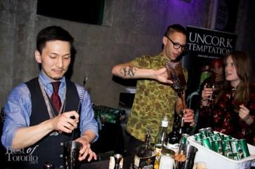 "Atsushi Suzuki, Kanji making his cocktail ""Mr. Redbean"""
