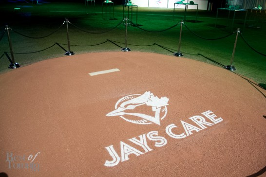 The customized Jays Care pitcher's mound at the Rogers Centre
