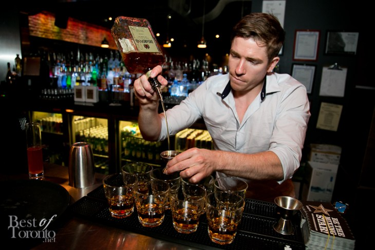 Bloke & 4th's Simon Hooper making Disaronno cocktails