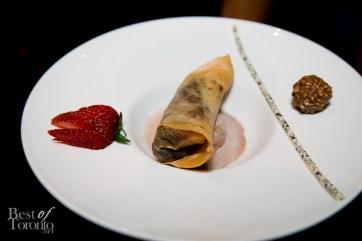 Chocolate banana spring rolls with ferrero rocher gelato