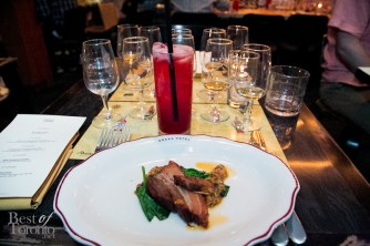 Devil's Cut marinated pork belly with snow pea leaves, oyster mushroom and scallion ginger sauce paired with Devil's Cut