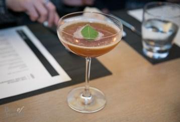 Beauty Meets Brains: Jim Beam, averna, lemon juice, simple syrup, garnished with a bay leaf