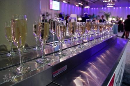 Sparkling wine on a revolving conveyor belt