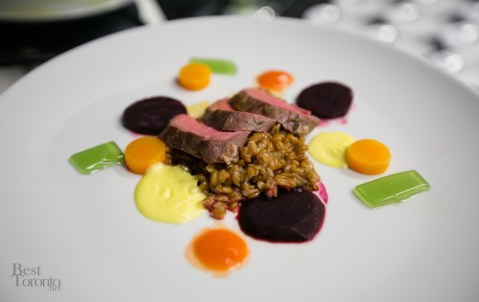 Ontario lamb on risotto with Hollandaise sauce, Uphill Farm vegetables, and mint jelly