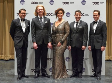(l-r) COC General Director Alexander Neef, Third Prize Winner bass-baritone Iain MacNeil, First Prize and Audience Choice Award winner soprano Karine Boucher, Second Prize winner tenor Jean-Philippe Fortier-Lazure, and COC Music Director Johannes Debus | Photo: Michael Cooper