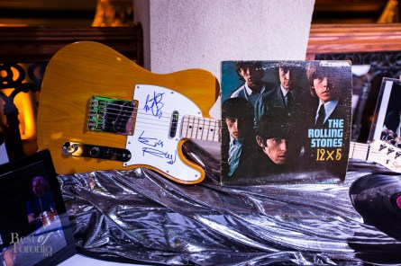 A Rolling Stones guitar at the silent auction