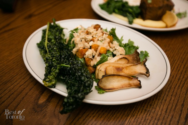 A warm butternut squash salad with crispy deep fried kale, king oyster mushrooms Loved this!