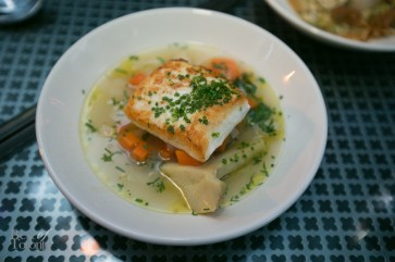 Halibut with artichoke, carrot, fennel, white wine and lemon