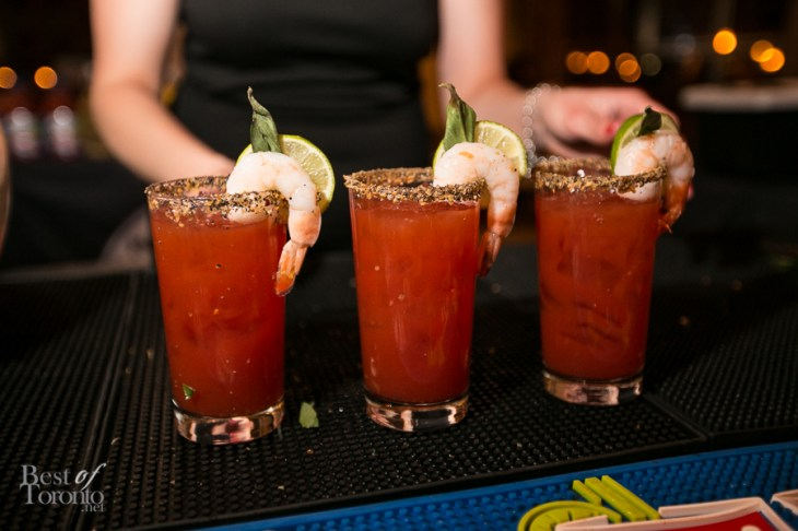 The welcome drink, a spicy Thai-style Caesar with lemongrass topped shrimp