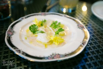 Scallop Crudo with celery, tequila, and lime