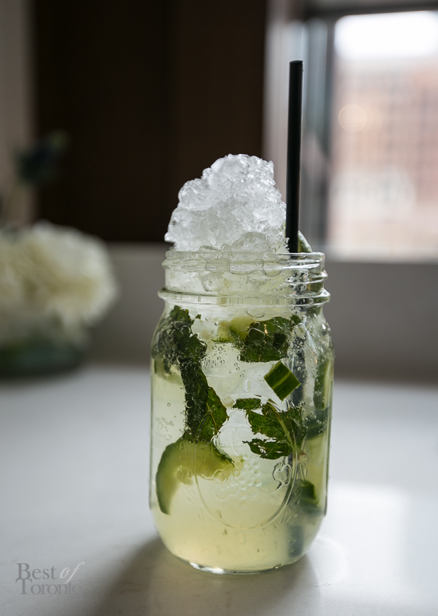 """""""Canadian Cooler"""" with Eristoff Vodka, Lime juice, Simple syrup, Mint leaves, Cucumber slices"""