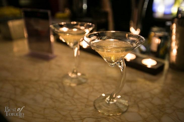 Martinis at the bar with pravda vodka