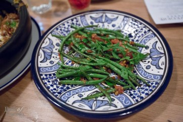 Green Beans Tomato Fenugreek Sauce and pickled garlic