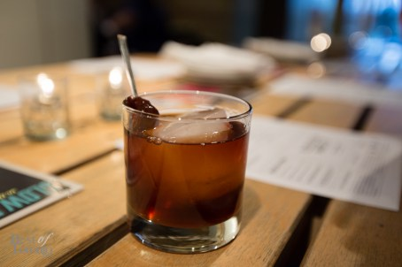 """""""Loaded Pistol"""" - Bulliet bourbon, chocolate bitters and SPiN cherries"""