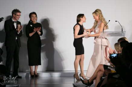 Suzanne Rogers congratulating Miriam Baker for her winning AliceAzur collection