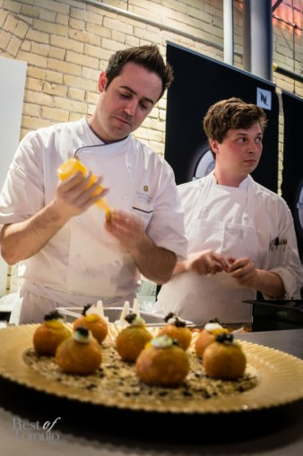 Caviar donuts by Chef Damon Campbell and team from Bosk Restaurant at the Shangri-La Hotel