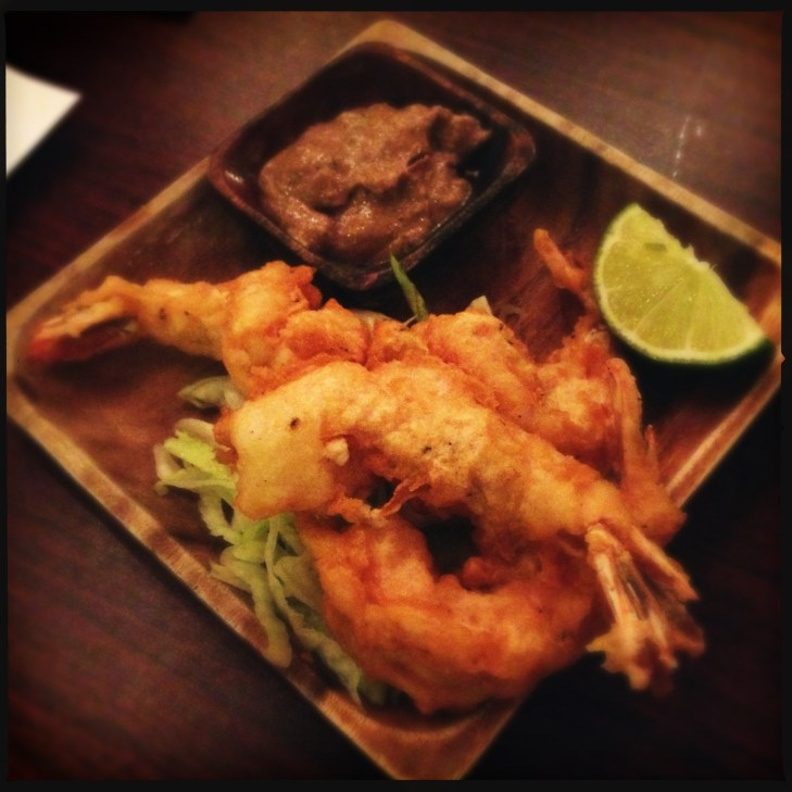 Surf & Turf - Fried shrimp with chicken pâté