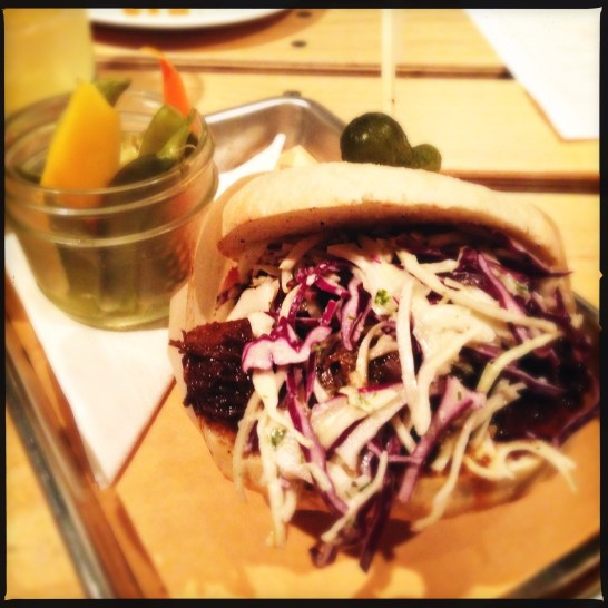 Hey Shorty - english muffin, braised beef, and napa cabbage