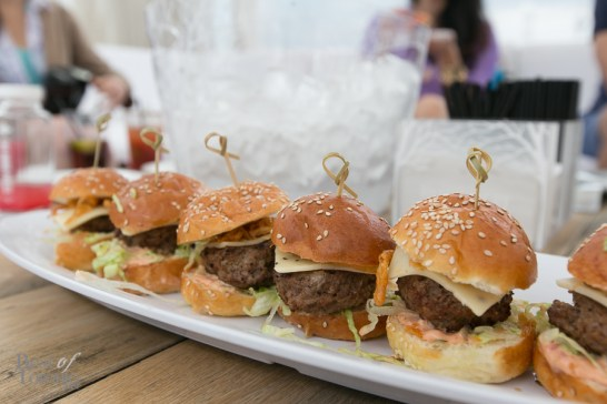 """Grilled Angus Beef Sliders with forfar pepper jack cheese, fried onions, lettuce, tomato, and """"Chef's Hometown Special Sauce"""""""