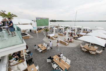 Overlooking Cabana from the new upper deck with a view of the new LED screen, great for watching the World Cup