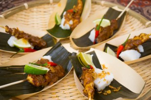 Babi & Co's Indonesian Street Style Chicken Satays with Peanut Sauce & Rice Cakes