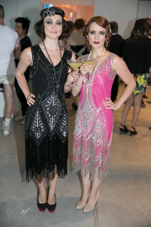 Actresses Ann Pirvu and Lara Jean Chorostecki wearing flapper dresses | Photo: Nick Lee