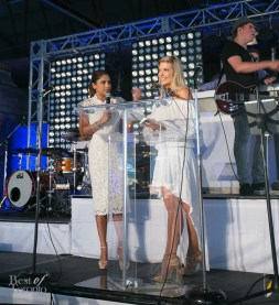 Hosts Sangita Patel and Cheryl Hickey on stage