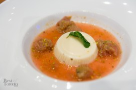 Rhubarb consommé, honey and yogurt panna cotta, pistachio