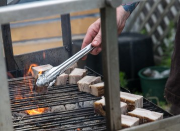 Chef Derek Dammann with his own Frost Village, Quebec pork