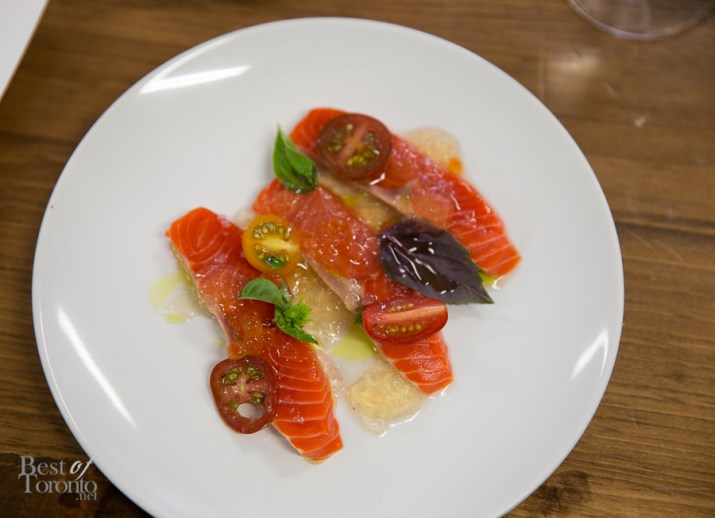 Raw Sockeye Salmon & Tomato Vinaigrette (paired with Rosehall Run 2012 Cuvee County Pinot Gris)