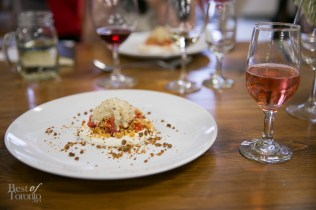 Strawberry Poached Rhubarb, Vanilla Cremeux & Pie Crust Crumble paired with Rosehall Run 2012